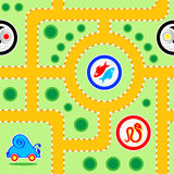 Kids road seamless. Seamless kids snail-car road pattern with funny signs Stock Photo