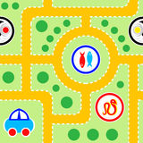 Kids road seamless pattern Royalty Free Stock Images
