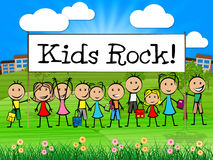Kids Rock Banner Indicates Free Time And Child Stock Image