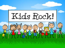 Kids Rock Banner Shows Free Time And Child Stock Images
