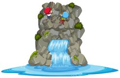 Kids Rock Climbing Over the Waterfall vector illustration
