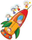 Kids on rocket Royalty Free Stock Image
