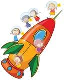 Kids on rocket. Illustration of a kids on rocket on white background stock illustration