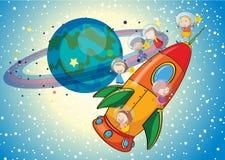 Kids on a rocket. Illustration of a kids on a rocket in the sky vector illustration