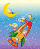 Kids on a rocket Stock Images