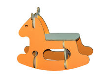 Kids rocking horse toy. Of orange color, handmade riding animal toy Stock Photography