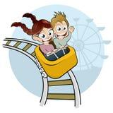 Kids on roller coaster. Cartoon of two screaming kids having fun on a roller coaster Stock Photo