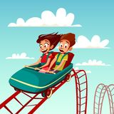 Kids on rides vector cartoon illustration of boy and girl riding on rollercoaster in amusement park. Kids on rollercoaster rides vector illustration. Boy and stock illustration