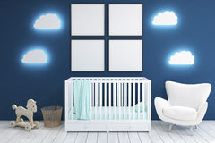 Kid's room with armchair and posters, blue Royalty Free Stock Photo