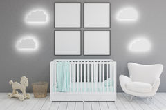 Kid's room with armchair and posters Stock Images