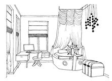 Kids room graphical sketch Royalty Free Stock Photo