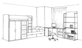 Kids room graphical sketch Stock Photos