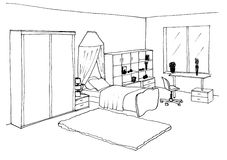 Kids room graphical sketch Stock Images