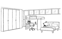 Kids room, graphical sketch Stock Photo