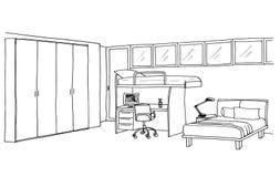 Kids room, graphical sketch. Children's, kids room graphical sketch of an interior, liner vector illustration