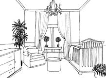 Kids room graphical sketch Stock Image