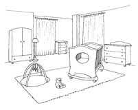 Kids room graphical sketch Royalty Free Stock Image