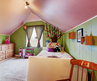Kids room in green and pink color Royalty Free Stock Photo