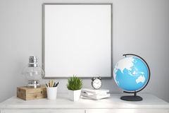 Kids room or home office white table poster. Interior of a kids room with a white wooden table, an oil lamp, an alarm clock and a globe. Framed poster. Elements Stock Photos