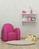 Kids room interior 3d render image, pouf,presents Stock Photography