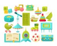 Kids Room Interior Elements Set vector illustration