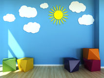 Kids room interior scene vector illustration