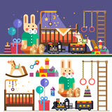 Kids room interior. Waiting for baby. Vector flat illustrations, objects and background Stock Photos