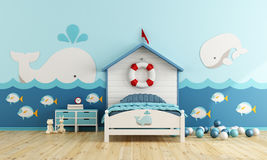 Kids room in marine style Royalty Free Stock Photo