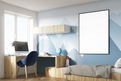 Kids room with poster and mountain corner vector illustration