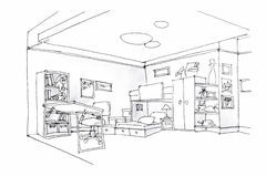 Kids room sketch in black and white Stock Photo