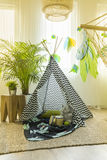 Kids room with tent. Unisex kids room interior with a tent in the middle royalty free stock images