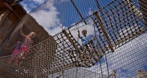 Kids on rope ladder, Zoo Safari, Dvur Kralove, Czech Republic Stock Photography