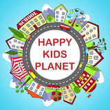 Kids round frame with happy city Royalty Free Stock Photo