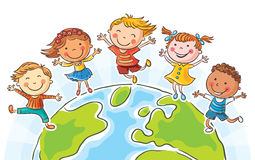 Kids round the Globe Stock Photography