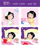 Kids routine actions - good night sleep tight. Set of four illustrations - little girl with dark hair and daily routine actions - showering, brushing teeth Royalty Free Stock Image