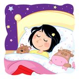 Kids routine actions - sleeping - dream baby dream. Little girl with dark hair and daily routine actions - good night sleep tight - purple background - jpg file Royalty Free Stock Photos