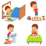 Kids daily routine. Illustration,vector Royalty Free Stock Images