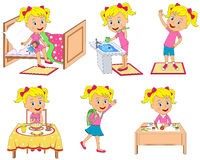 Kids daily routine vector illustration
