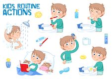 Kids and daily routine - little boy with light brown hair. Daily routine - set of six routine actions - illustrations on the white background - showering vector illustration