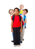 Kids  in a row. Kids group standing in a row Royalty Free Stock Photos