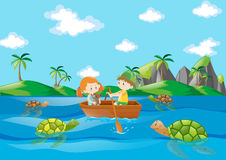 Kids rowing boat in the river royalty free illustration