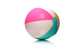 Kids rubber beach ball. Colorful rubber beach ball on white with copy space Royalty Free Stock Images