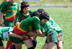 Kids rugby match. Royalty Free Stock Photo