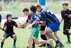 Kids rugby match. Royalty Free Stock Photos