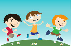 Kids running vector illustration