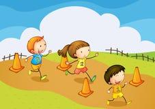 Kids running. Illustration of a kids running in nature vector illustration