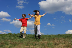 Kids running Stock Image