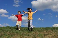 Kids running stock image