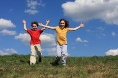Kids running stock photography