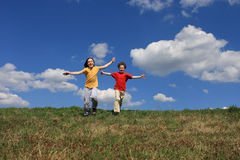 Kids running Stock Photos
